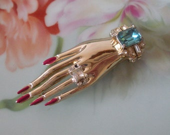 Vintage CORO 1940s Hand Brooch Pin Curved Fingers-Wearing RHINESTONE Bracelet & Ring Gold Plate Metal Enamel Red Nails Pin in Beautiful Cond