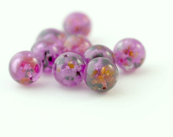 Vintage Pink Beads Confetti Round Beads Vintage Lucite Beads 12mm (10)