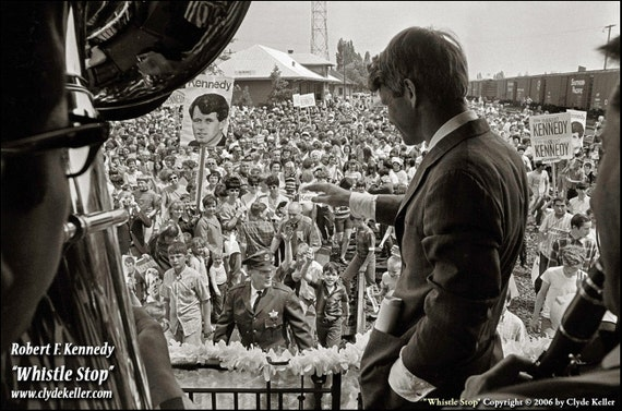 Robert F. Kennedy, WHISTLE STOP, Clyde Keller Photo, large 20x30 Inch Fine Art Print, Black and White, Signed, vintage 1968 image, Treasury
