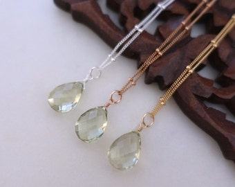 Green Amethyst Necklace, Gold Green Amethyst Necklace, Silver Green Amethyst Necklace, Steling Silver Gold Filled Satellite Chain Necklac