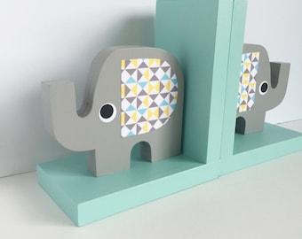 Elephant Bookends, Elephant Nursery, Elephant Kids Decor, Aqua, Mint Gray, Triangle pattern, Gray and Aqua Nursery, eco friendly