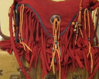 Rugged Red Fringe Cross Body Bag