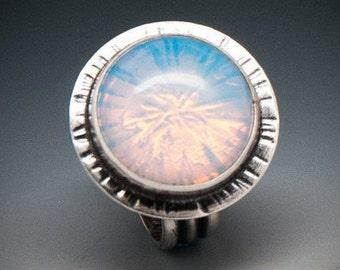 Opalite Ring, Ocean Opal, Opal, Ocean Ring, Ocean Jewelry, Moonstone Jewelry, Artisan Rings, Silver Jewellry, Artisan Rings