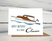 Chris Craft Boat Birthday greeting card
