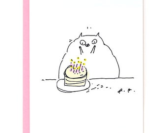 Set of 4 Birthday cards- Cat Birthdday Card - Mixed Set