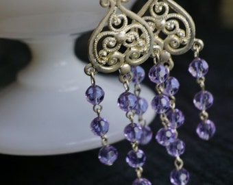 Pale purple and silver chandeliers