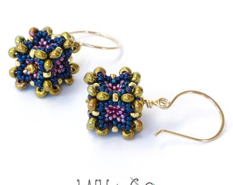 Baroque Cube Earrings in Blue Purple Beaded Gold Filled Wire