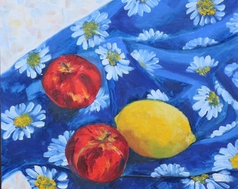 Original Oil on Canvas. TITLE Apples and Lemon on Daisy Blue, Floral Painting. Still life, Original painting. Fine Art by AnnaArt72