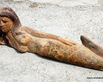 Hand Carved Wooden Mermaid Statue Nautical Garden and Pool Decor