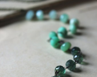 The Equinox Necklace. Rustic Boho Chic Modern Ombre Green Chyrsoprase and Apatite Lariat Style Necklace.