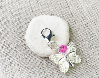 Butterfly Stitch Marker- Crochet Marker- Knitting Marker- Silver Stitch Marker- Locking Stitch Markers- Removable Stitch Marker- Snag free