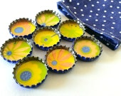 Starburst Flowers - Dark Blue, Orange, Yellow and Lime Green - Up-cycled Bottlecap Magnets- Set of 7- Comes with Gift Bag