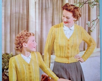 Vintage Knitting Pattern 1940s 1950s Girl's Women's Cardigans original pattern - Lister No. 388 UK - matching mother and daughter garments