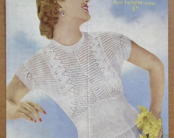 Vintage 40s 50s Knitting Pattern Women's Sweater Jumper Top - lacy design - 1940s 1950s original pattern - Sirdar No. 1401 UK
