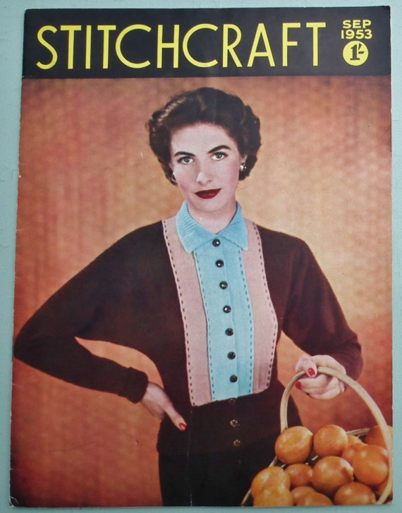 Knitting Sewing Needlework Magazine 1950s - Stitchcraft Sept 1953 vintage 50s knitting patterns women's beaded sweater twin set baby layette