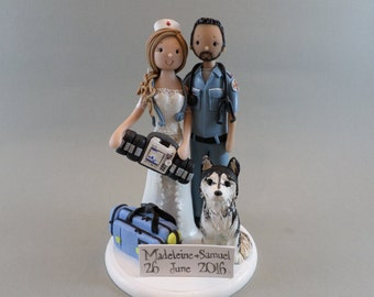 Cake Toppers - Nurse & Paramedic Personalized Wedding Cake Topper