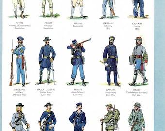 Military Uniform Illustrations, Military Uniform Prints- 2 vintage full color 1960's encyclopedia book plates, US military uniforms