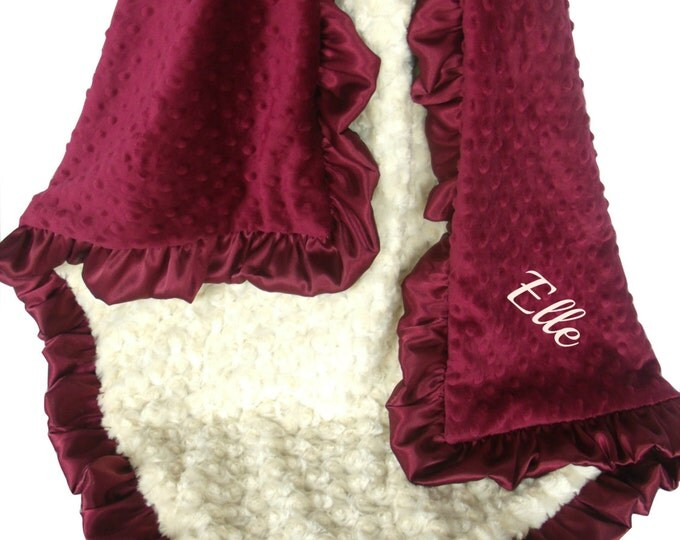 Burgundy with Cream Dot Charcoal Gray Rose Swirl Minky Blanket, Crimson Scarlett Minky Baby Blanket, available in three sizes