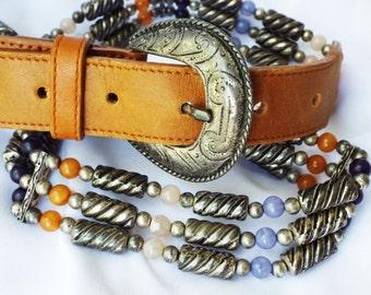 Vintage Korean Beaded Boho Belt Metal Buckle Leather