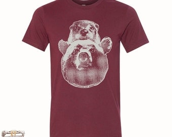 Mens BEAR & OTTER heather blend screen printed graphic t shirt xs s m l xl xxl [+Colors]