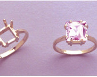 Sterling Silver ~ 7x7mm SQUARE/ CUSHION cut Ring setting ~ Custom sized from size 5 to size 12  ~ to be ordered ~ #845 ~  FDK