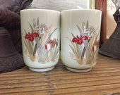 Vintage Japanese Cups - vintage Japanese tea cups - Mid Century cups - sake cups - Asian floral cups