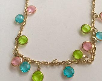 Pastel Demi Parure - 1960's plastic fantastic - necklace and earring set - super long necklace - flapper style necklace - clip on earrings