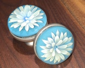 Set of TWO Silver Fumed Flower Glass Knobs-Blown Glass
