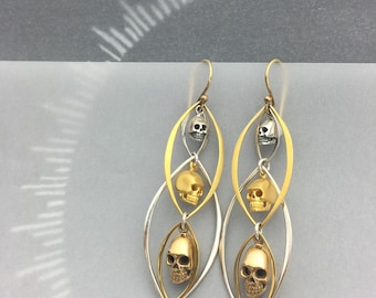 3 Heads are Better Than 1: Mixed Metal Skull and Marquis Frame Earrings Sterling Silver, 24k Vermeil Gold and Bronze