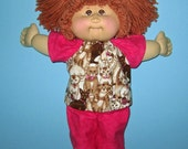 Cabbage Patchl Doll Clothes  Kitty Cat Pink and Brown Pajamas 16 inch Doll Clothes  Vintage and Classic