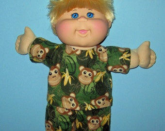 "Cabbage Patch Kids  Doll Clothes Camouflage Monkey Pajama Set  14""  or 15"" Doll Adoptimals  Boy  or Girl Doll"