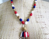 Red White and Blue Beaded Tassel Necklace - 4th of July - Show your Patriotism! by Trifari