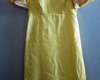 1960s Lemon yellow Empire Waist Dress - Gown - Petite - Small
