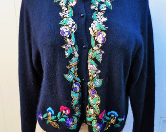 1970s Black Angora cardigan sweater with colorful embroidery & sequin trim - Large