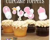 Baby Shower - Set of 12 Assorted Baby Girl Cupcake Toppers by The Birthday House