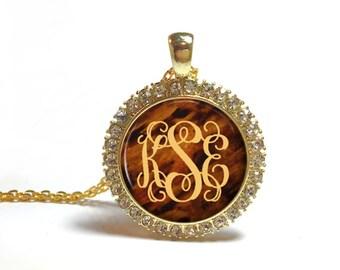 Monogram Necklace, Rhinestone Monogram Necklace, Personalized Jewelry, Monogram Jewelry, Mock Tortoise Shell (493)