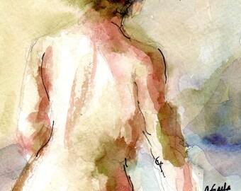 New Size Watercolor Print, 4 x 6, Nude Figure, Female Figure, Flowers in Her Hair, Wall Art Giclee, Romantic Art, Figurative Art