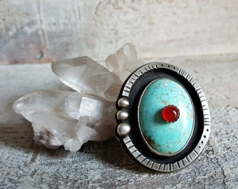 Turquoise and Carnelian Stone on Stone Ring in Sterling Silver
