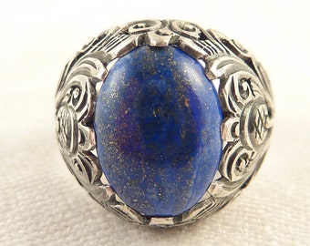 Size 9 Vintage Ornately Hand Carved Sterling India Lapis Ring