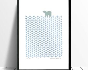 "Fine Art Print ""Polar Bear"" in (Ice Blue) - FREE Worldwide Shipping"
