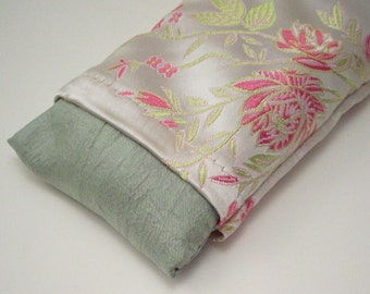 Flax Seed Eye Pillow - With Lavender or Unscented - Pink Rose on Gold Brocade Yoga Eye Mask