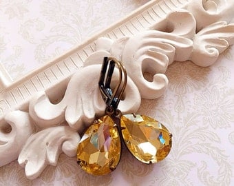 Citrine Earrings - Yellow - Victorian Earrings - November Birthstone - CAMBRIDGE Citrine
