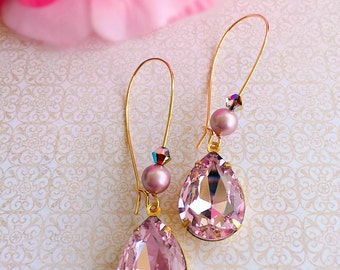 Rose Quartz Earrings - Pink Earrings - Bridesmaid Gifts - October Birthstone Jewelry - Victorian Earrings - BELLE Pink