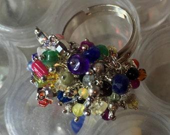 Precious Semi Precious Multi Gemstone Charms Sterling Silver Swarovski Crystal  Adjustable Cha-Cha Ring
