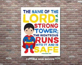 Proverbs 18:10, The Name Of the Lord Is A Strong Tower, DIGITAL, YOU PRINT, Superhero Decor, Christian Bible Verse,Christian Superhero