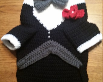 Crocheted dog tuxedo