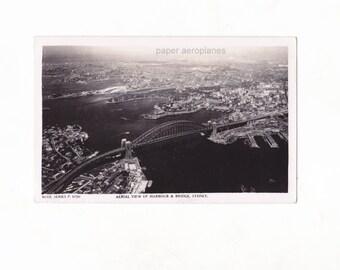 Vintage  Aerial View of Sydney Harbour Bridge NSW Australian Black & White Postcard 1950's
