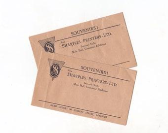 Pair of Small Vintage Australian Advertising Envelopes 1930's Souvenirs