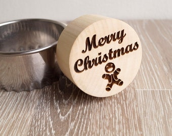Christmas cookie stamp, embossing cookie stamp, embossing rolling pin alternative, cookie decorating stamp, wooden kitchen stamp