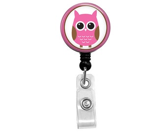 Pink Owl Badge Reel - Mylar Cleanable Surface - Unique Gift Retractable ID Holder - LPN RN Nurse Badge Holder